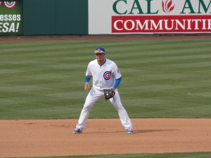 Javier Baez mans shortstop in the eighth inning