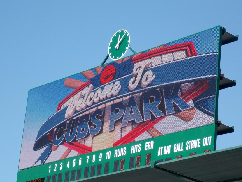 Scoreboard at Cubs Park in Mesa, Arizona