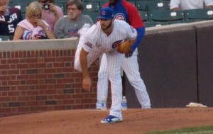 Jake Arrieta warms up prior to the Cubs' September 3rd game against Milwaukee