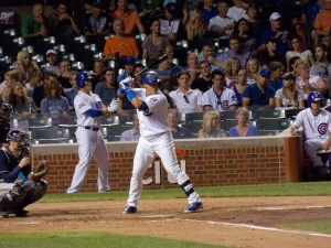 Javier Baez bats against the Milwaukee Brewers September 3rd.