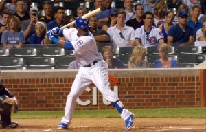 Jorge Soler bats against the Milwaukee Brewers September 3rd