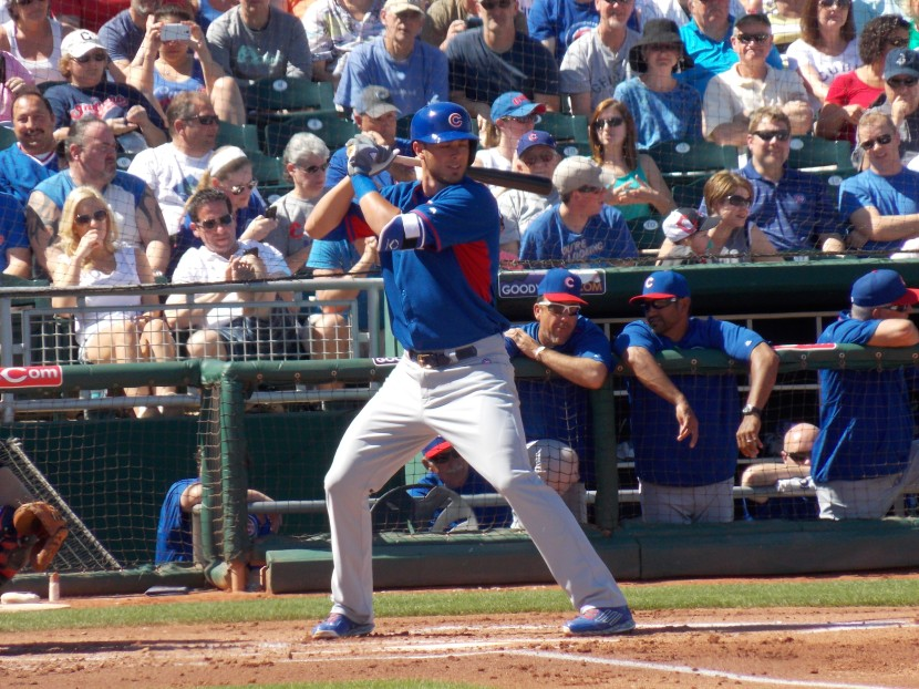 Kris Bryant Stands In vs. Indians