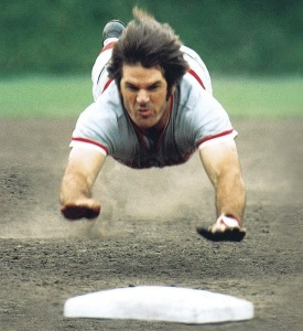 Pete Rose hits the dirt in Wrigley Field